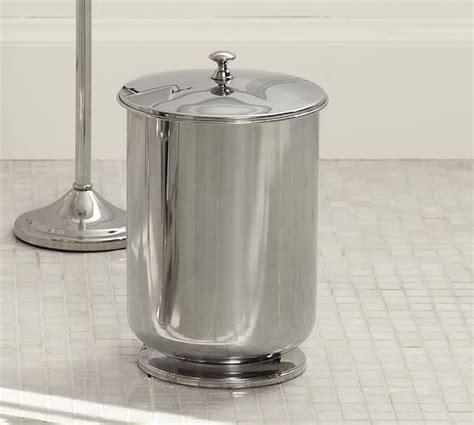 Polished Nickel Bathroom Trash Can Mercer Lidded Trash Can Pottery Barn
