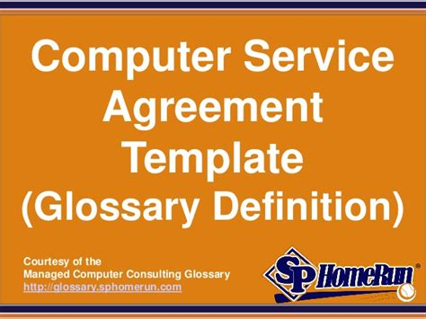 computer service agreement template glossary definition