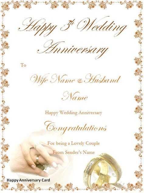 Happy Wedding Card Template by Happy Anniversary New Calendar Template Site
