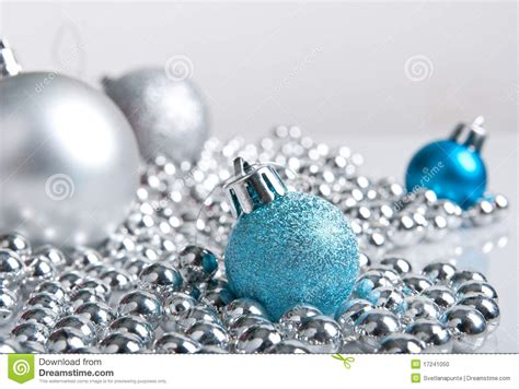 silver and blue decorations blue and silver decorations stock photo image