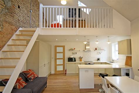 Open Floor Plan Log Homes Flat Refurbishment With Feature Mezzanine Floor In Kt1