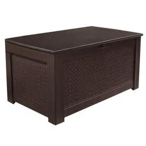 Rubbermaid Storage Bench Rubbermaid 93 Gal Chic Basket Weave Patio Storage Bench Deck Box In Brown 1859930 The Home Depot