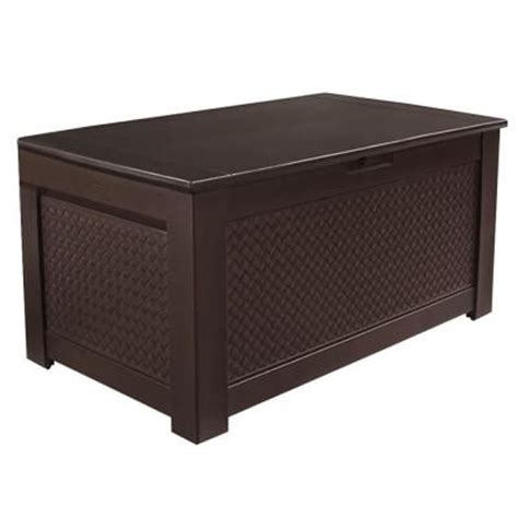 patio box home depot rubbermaid 93 gal chic basket weave patio storage bench deck box in brown 1859930 the home depot