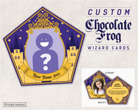 choclate frog cards template harry potter custom printable chocolate frog cards