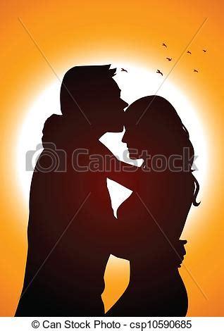 Silhouette illustration of two lover in romantic scene ... Free Clipart Bride Silhouette