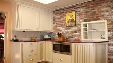exposed brickwork wallpaper brick backsplash kitchen