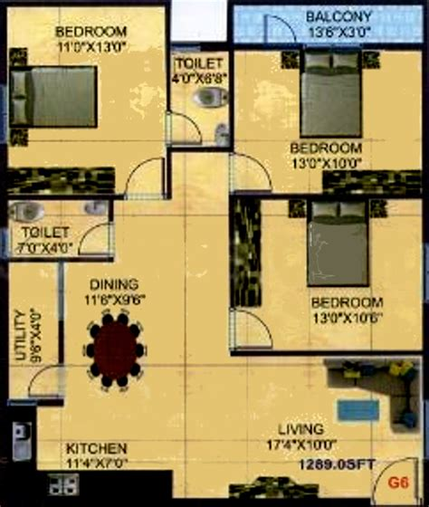 r city phase 1289 sq ft 3 bhk 2t apartment for sale in r and p group