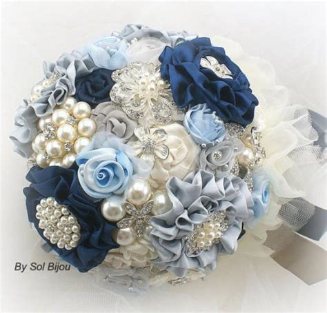 light blue and silver wedding brooch bouquet wedding bouquet in navy blue ivory