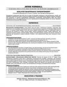 Maintenance Resume Objective by Maintenance Resume Objective Exles Recentresumes