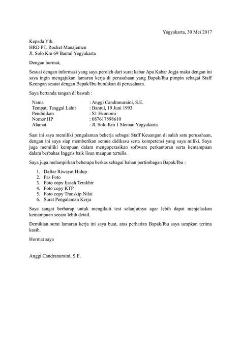 contoh surat lamaran kerja dan cv terbaru naranua loak info