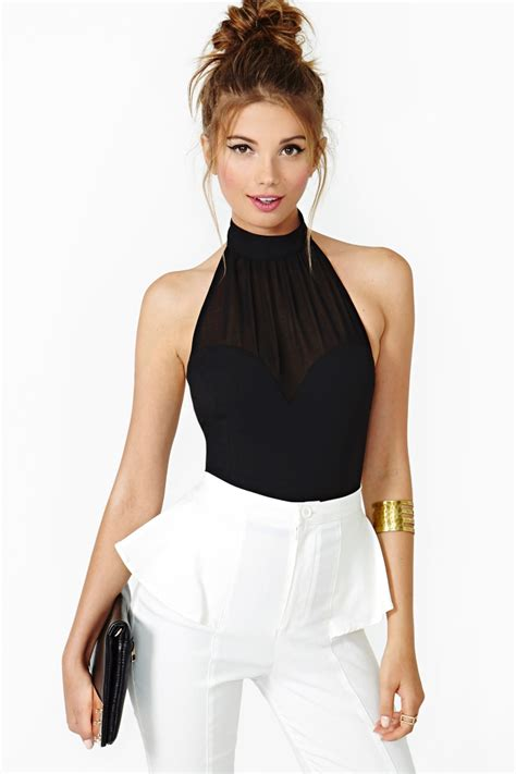 gal mind halter top in black lyst