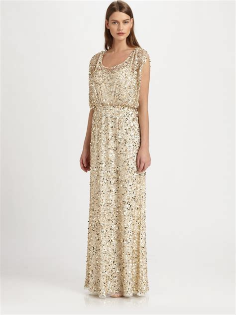 gold beaded gowns lyst aidan mattox sequined gown in metallic