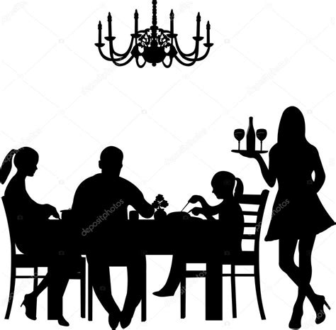 dinner silhouette silhouette of a restaurant scene were a family enjoy their