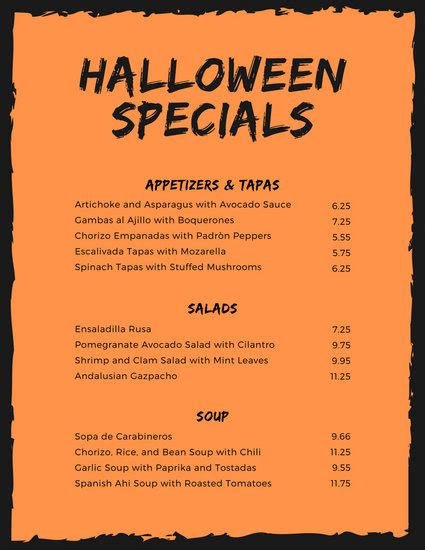 halloween menu templates canva