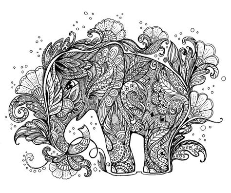 printable elephant coloring page for adults beautiful elephant with floral ornament by nadiya