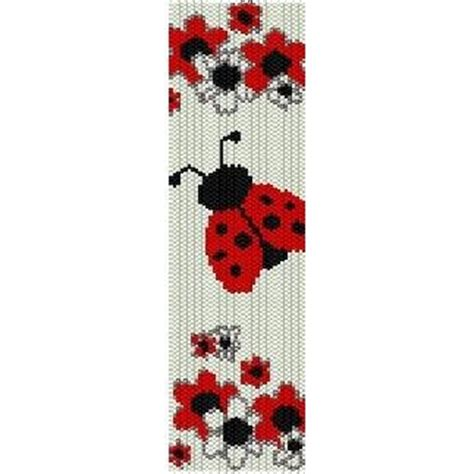 bead loom flower patterns ladybug in flowers loom beading pattern for cuff