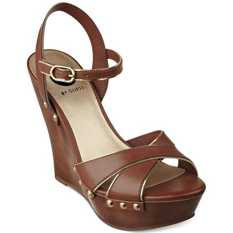 sandals guess g by guess womens selenah platform wedge sandals in brown