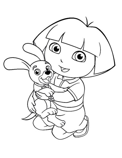 dora puppy coloring page dora love her dog in dora the explorer coloring page netart