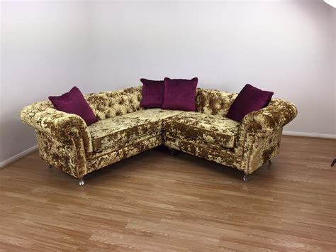 gold crushed velvet sofa crushed velvet gold corner sofa aged to perfection