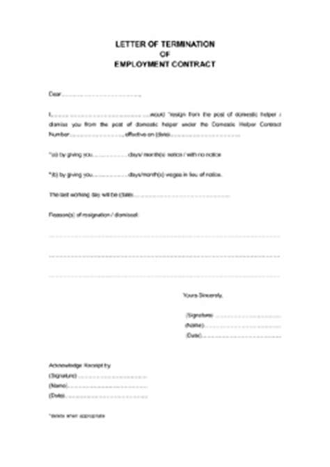 Letter Of Termination Of Employment Contract Domestic Helper Cover Letter Domestic Helper