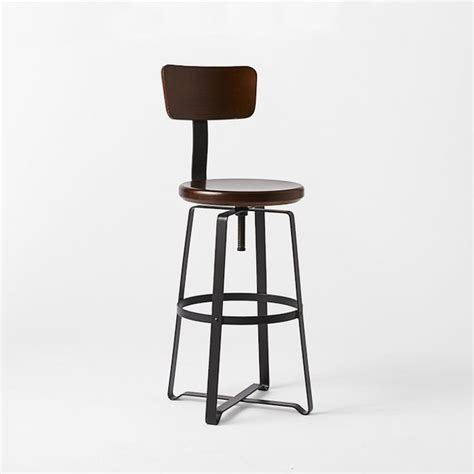 Industrial Bar Stool With Back Adjustable Industrial Stool With Back Industrial Bar Stools And Counter Stools By West Elm