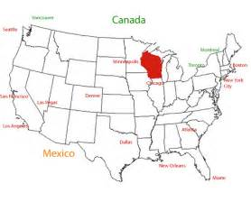 usa map with chicago wisconsin location