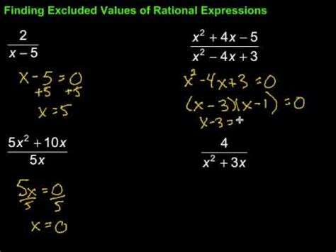finding excluded values of rational expressions