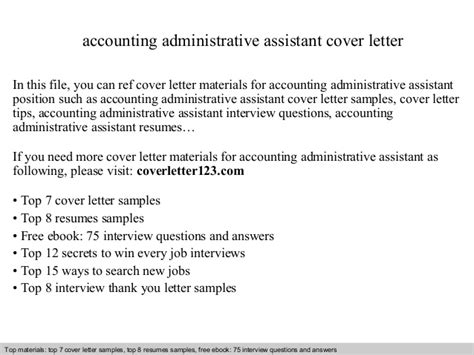 accounting assistant cover letter accounting administrative assistant cover letter