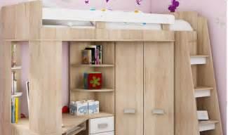 lit combin en hauteur enfant avec bureau et armoire en bois