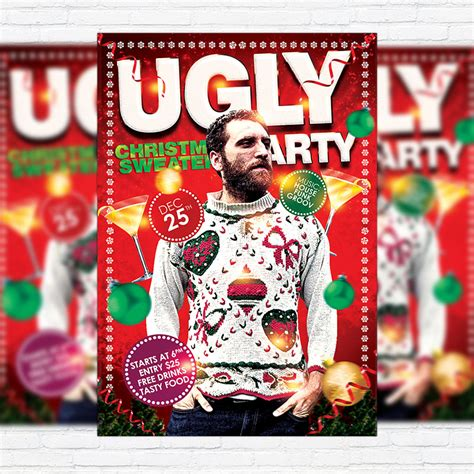 ugly christmas sweaters party premium flyer template