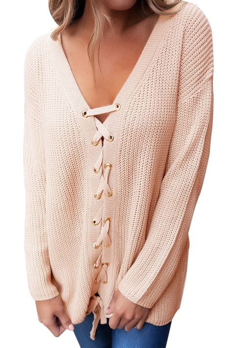 Lace Up Front Sweater womens khaki v neck lace up front sweater