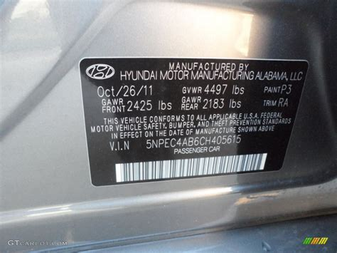 2012 hyundai sonata se 2 0t color code photos gtcarlot