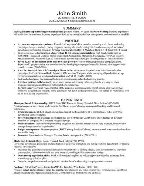 Resume Sles For Banking Professionals Account Manager Resume Sle Template