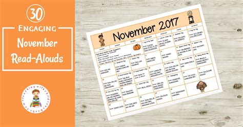picture book activities printable november read aloud picture books calendar