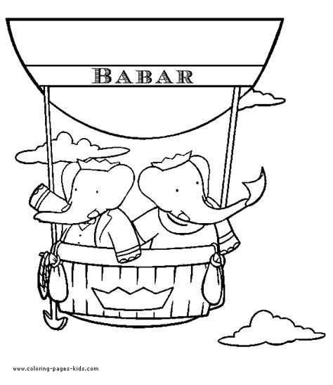 Babar Color Page Cartoon Color Pages Printable Cartoon Babar Coloring Pages