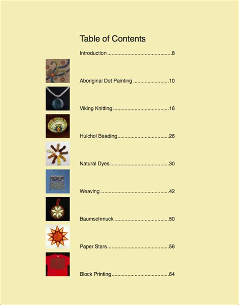 creative crafts of the world table of contents taproot