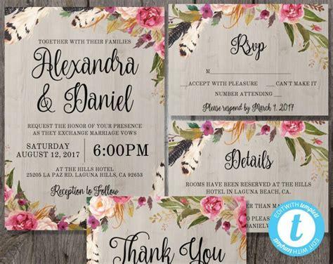 Rsvp Wedding Invite Template by Printable Boho Wedding Invitation Template Set Rsvp
