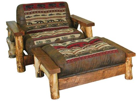 Rustic Futon Beds by Rustic Aspen Log Chair Futon Big Lake Horizon Fabric