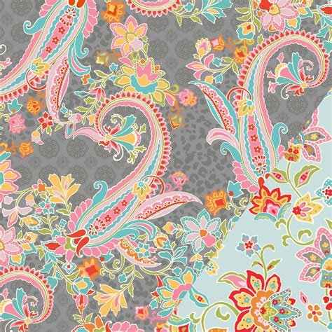 Gray Quilting Fabric by Quilt Fabric Gray Pastel Paisley Jo