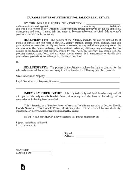 free florida real estate power of attorney form pdf