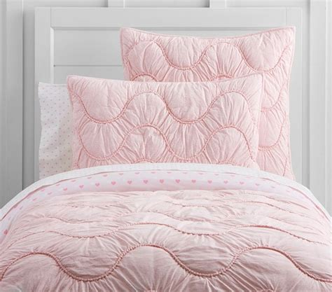 scalloped bedding organic jersey scalloped quilted bedding pottery barn kids