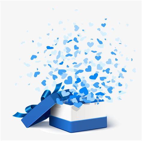 Vector Blue Gift Box Vector Cartoon Pattern Open The
