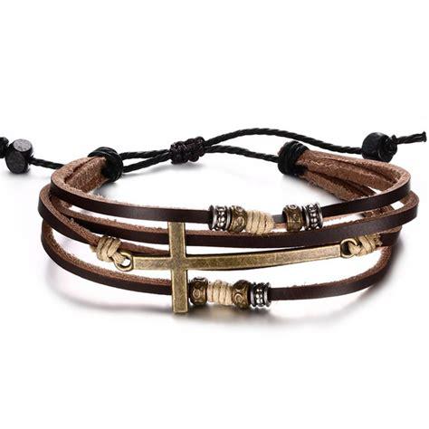genuine leather cross bracelets adjustable bohemia rope