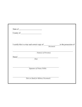 Printable Notary Copy Certification Form Legal Pleading Template Notary Template Word