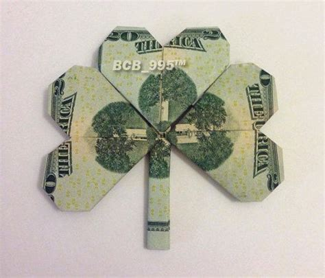 Money Origami Shamrock - shamrock leaf money origami luck charm dollar