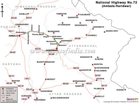 road map direction driving national highway 72 ambala to haridwar road map