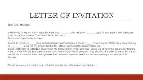 sample invitation letter  visitor visa  sister canada