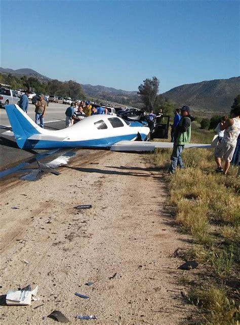 plane crashes onto san diego california area freeway
