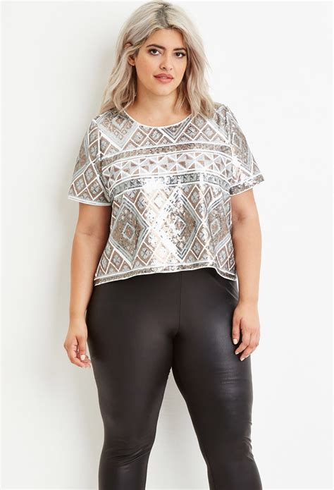 Top Only Big Size Forever 23 forever 21 geo patterned sequin top in lyst