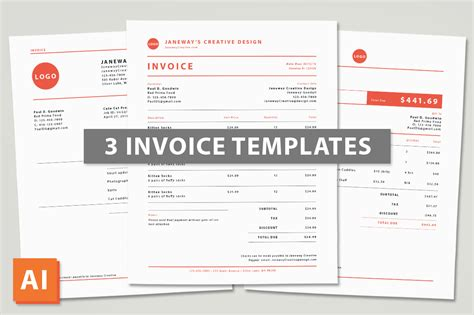 3 Illustrator Invoice Templates Templates On Creative Market Illustration Invoice Template